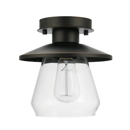 Globe Electric Nate 1-Light Oil Rubbed Bronze Semi-Flush Mount Ceiling Light, 64846 Wilshire Lighting 1 Light