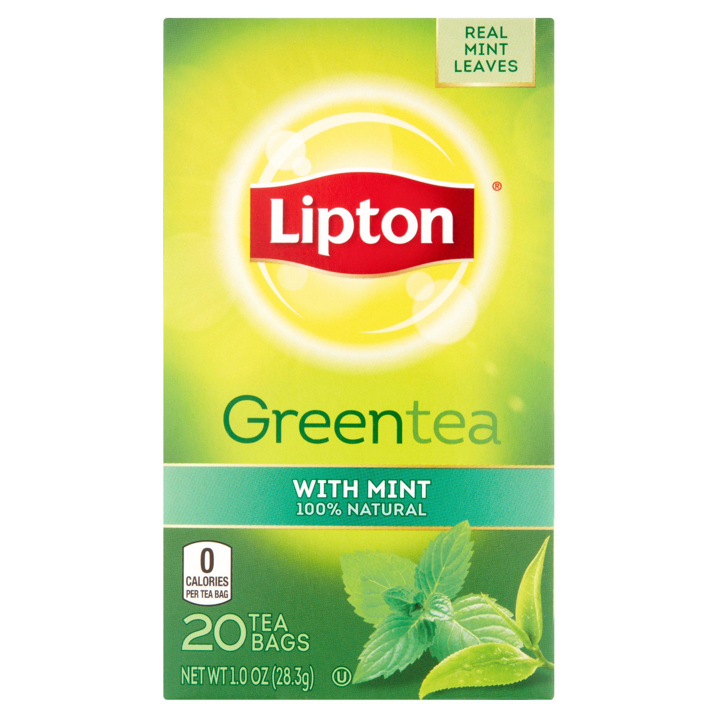 (4 Boxes) Lipton Green Tea Bags Mint 20 ct