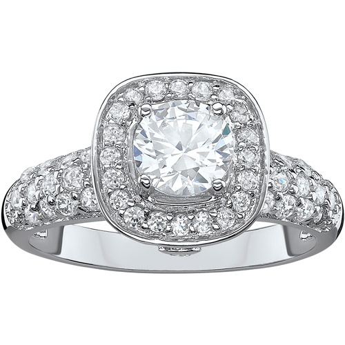2.43 Carat T.G.W. CZ Solitaire Halo Sterling Silver Engagement Ring