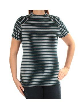 KENSIE Womens Blue Striped Short Sleeve Crew Neck Top  Size: XL