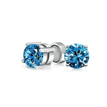 1.25 CT Round CZ Prong Set Magnetic Clip On Stud Earrings Non Pierced 925 - Cubic Zirconia Stud Pierced Earrings