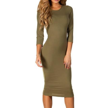 1173263976 Style Clad - Women s 3 4 Sleeve Midi Bodycon Dress (Olive