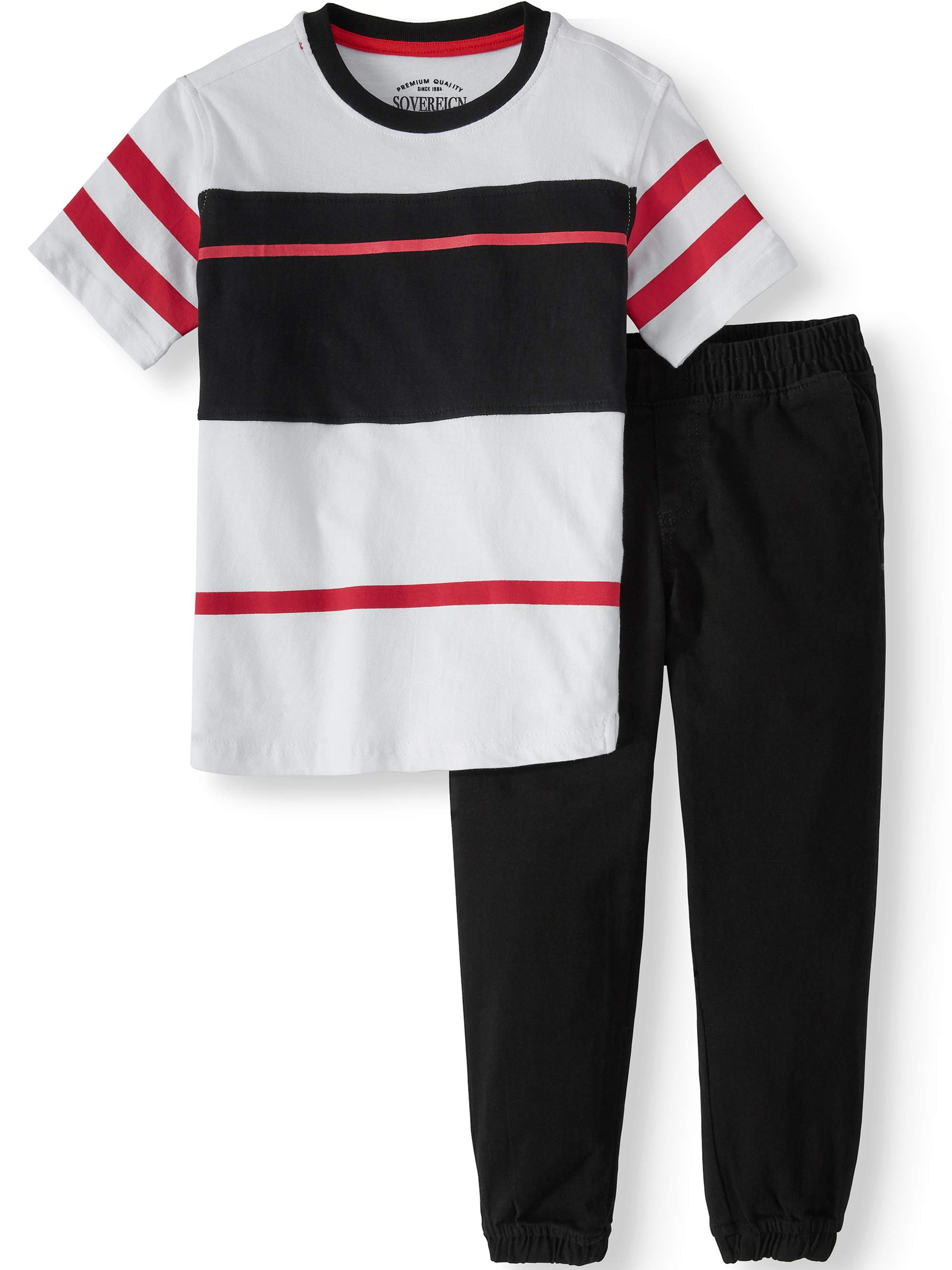 Short Sleeve Tee with Woven Jogger, 2-Piece Outfit Set (Little Boys)