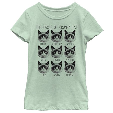 Grumpy Cat Girls' Many Faces T-Shirt