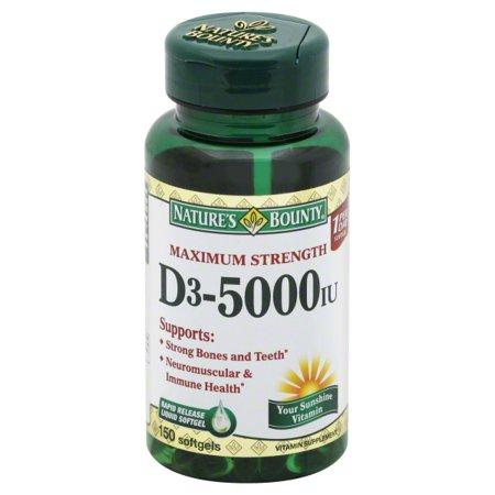 Nature S Bounty Vitamin D3 5000 Iu 150 Softgels Walmart Com