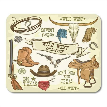KDAGR Western Wild West Collection Cowboy Stuff Texas Rodeo Hat Longhorn Mousepad Mouse Pad Mouse Mat 9x10 inch - Cowboy Stuff