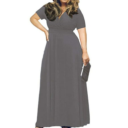 Women's Solid V-Neck Short Sleeve Plus Size Evening Party Maxi Dress - Plum Party
