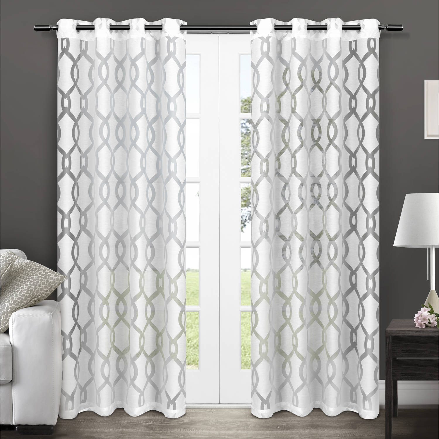 Exclusive Home Curtains 2 Pack Rio Burnout Sheer Grommet Top Curtain Panels