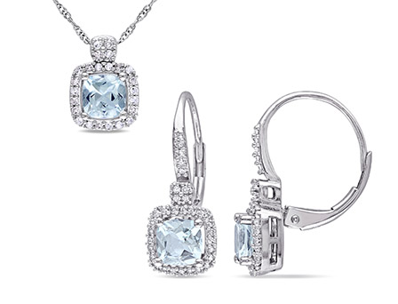 Tangelo 1-1 2 Carat T.G.W. Aquamarine and 1 3 Carat T.W. Diamond 10k White Gold 2-piece Halo Pendant and Earrings Set by Delmar Manufacturing