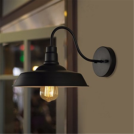 Grtsunsea Retro Vintage Metal Wall Sconce Lighting Gooseneck Barn Lights Industrial Vintage Farmhouse Wall Lamp Fixture For Warehouse Garden Garage Loft Indoor Outdoor Metal Black ()