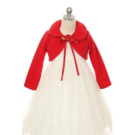 Red Flower Special Occasion Fleece Bolero Jacket Girl 12 - Special Occasion Jacket