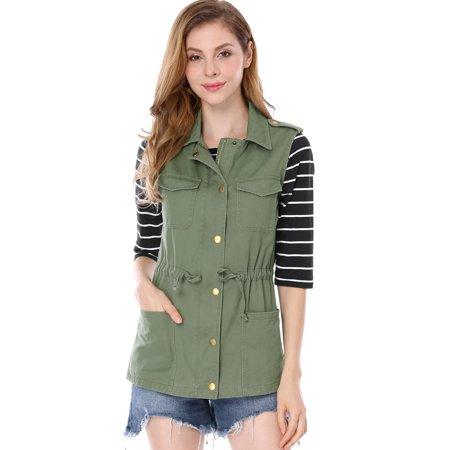 Women's Sleeveless Functional Pockets Drawstring Waist Cargo Vest Jacket Coat Green S (US 6)