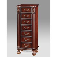 Lopez Seven drawer Jewelry Armoire With Mirror Cherry