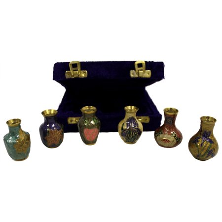 6 Hand Painted Brass Vases In Velvet Box Small Urn Urns Walmart