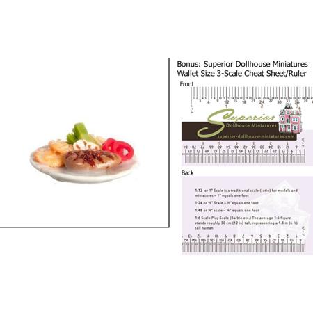 Dollhouse Miniature Grilled Steak Dinner W 3 Scale Wallet Ruler