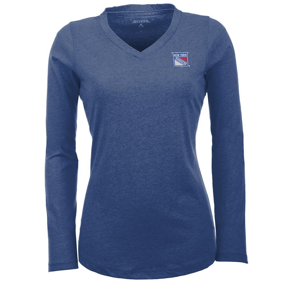 Women's New York Rangers NY Flip V-Neck Long Sleeve Tee by Antigua