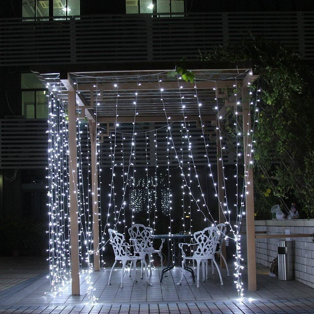 Ktaxon 300 LED Curtain String Icicle Fairy Lights-9.8ft x 9.8ft with 8 Lighting Modes-Perfect for Holiday Christmas... by