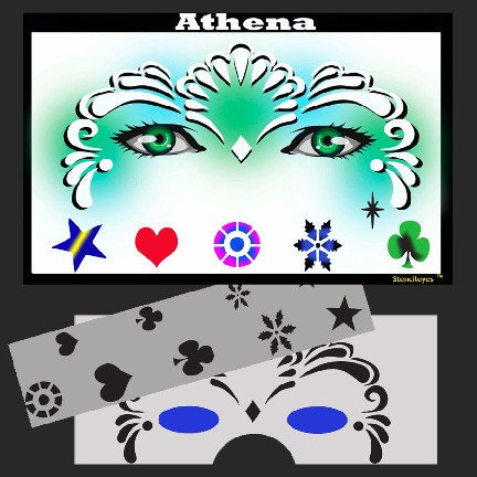 Face Painting Ideas Princess (Face Painting Stencil - StencilEyes Athena - Princess, The original face painting stencils - Made in the USA By ShowOffs Body Art Ship from)