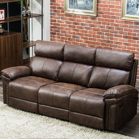 JRFOTOO Recliner Sofa Leather Sofa Recliner Couch Home Theater Seating  Manual Reclining Sofa (3 Seater) for Living Room Set, Brown