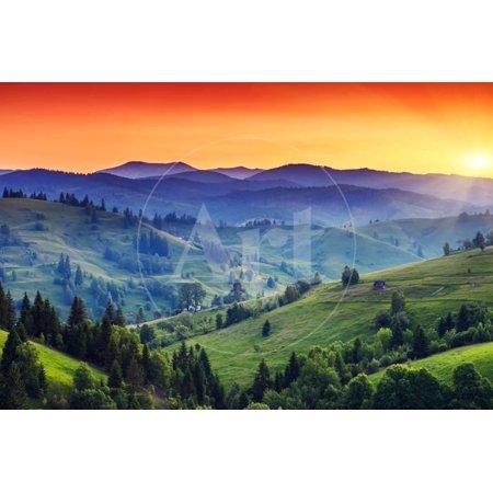 Majestic Sunset in the Mountains Landscape. Dramatic Sky. Carpathian, Ukraine, Europe. Beauty World Print Wall Art By Creative Travel