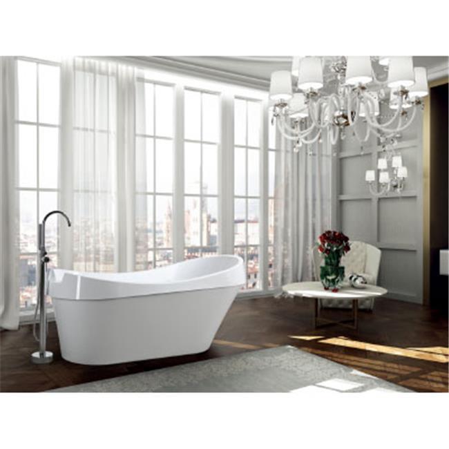 69 in. Freestanding Soaking Bathtub, Glossy White