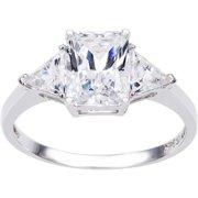 14k Yellow or White Solid Gold 2ct TGW Radiant and Triangles-cut Cubic Zirconia 3-Stone Engagement Ring White - 8