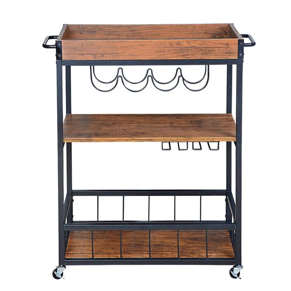 Rustic, Industrial Bar Cart with Removable Top Tray