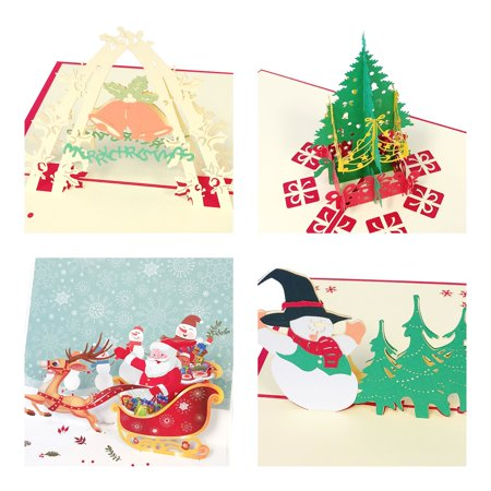 Wrapables® 3D Pop-Up Greeting Cards for Birthday, Thank you, Anniversary, Wedding, Holidays (Set of 4), Christmas (Sleigh, Christmas Tree, Bells, Snowman)](Birthday Money Tree)