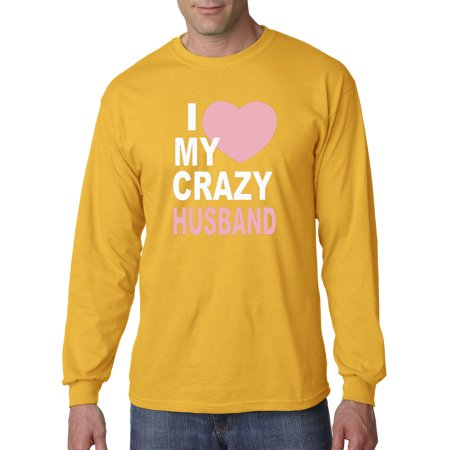Trendy USA 1344 - Unisex Long-Sleeve T-Shirt I Love My Crazy Husband Big Heart Medium Gold