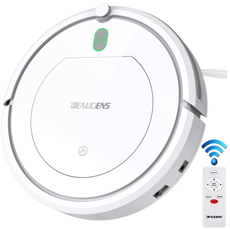 BEAUDENS Robotic Vacuum Cleaner with High Suction, Slim Design, Self-Charging for Pet Hair and Long Hair, Automatic Planning Sweeper for Home Tile Hardwood Floors and Low Pile