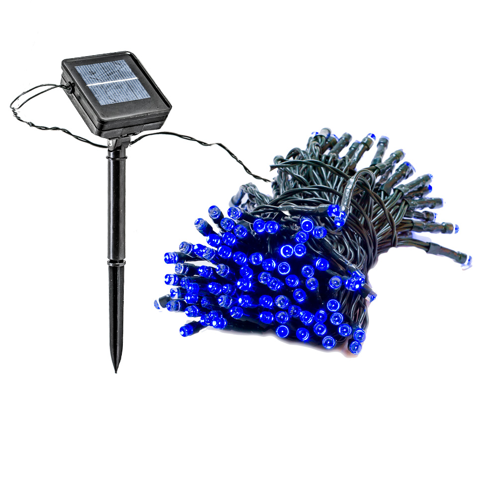 4 Pack 55 Foot Solar Outdoor Christmas Holiday String Lights with 150 Blue LED