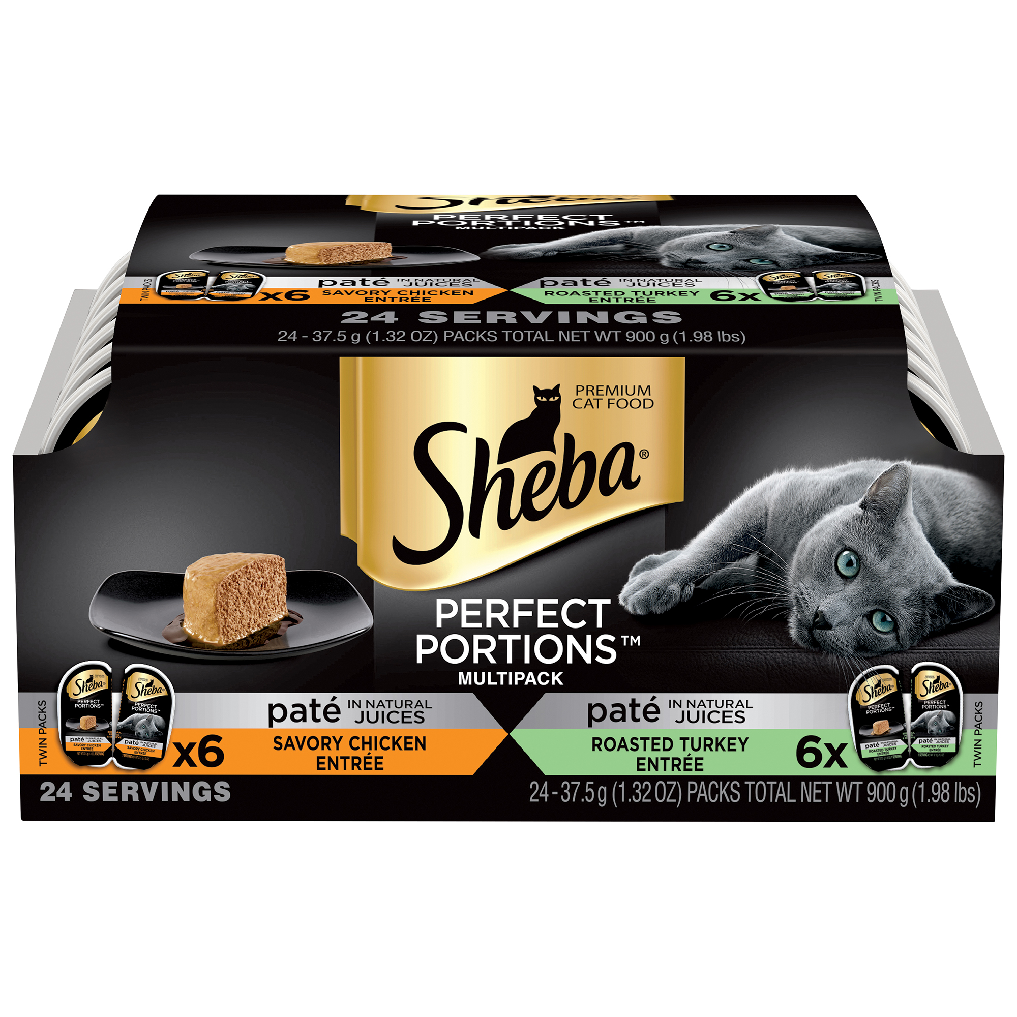 SHEBA PERFECT PORTIONS Multipack Chicken Entrée and Turkey Entrée Wet Cat Food 2.6 oz. (12 Twin Packs)