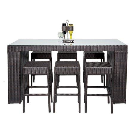 Tk Classics Napa Wicker 7 Piece Bar Table Set Walmart Com