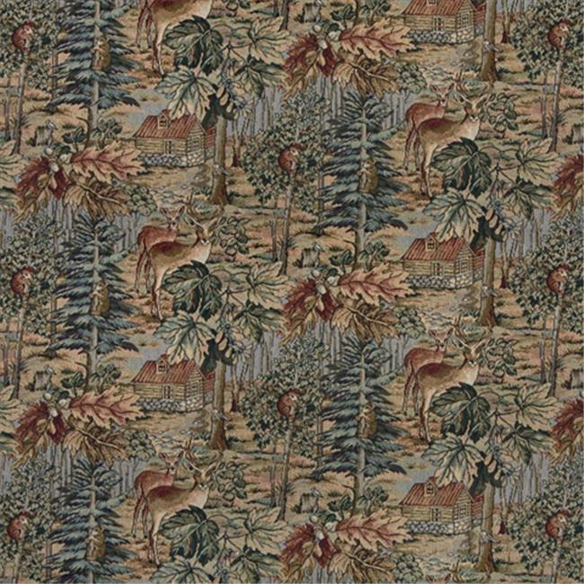 Designer Fabrics A016 54 inch Wide , Wilderness, Deer, Cabins, Trees, Leaves, Themed Tapestry Upholstery Fabric