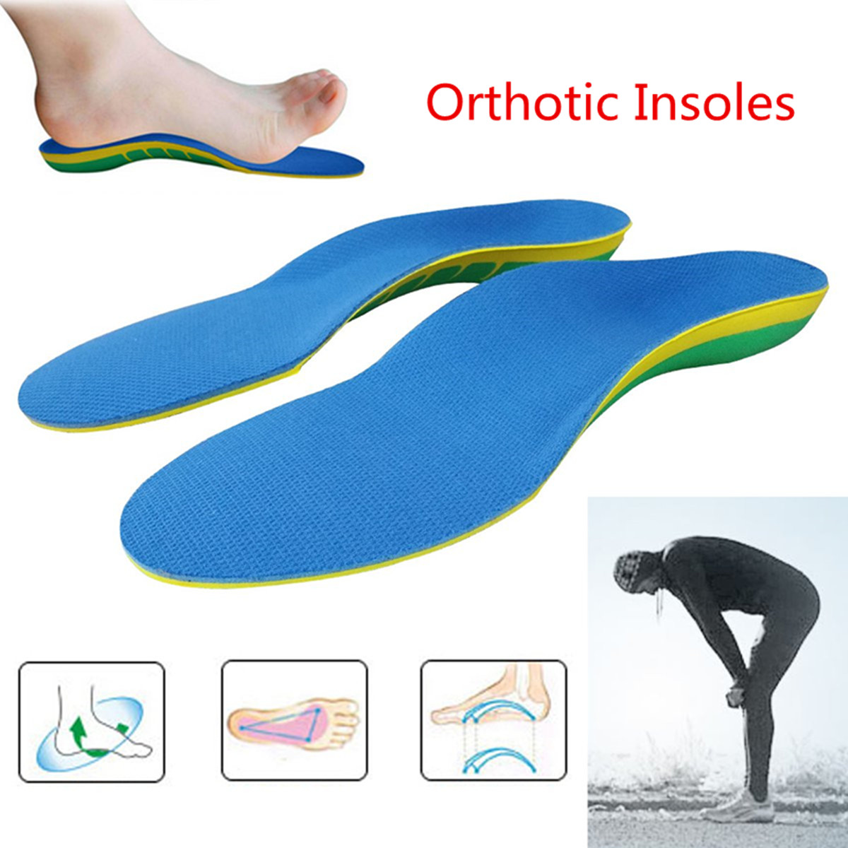 Pair Orthotic Shoes Insoles Insert High Arch Support Pad Accessory Women Men S L