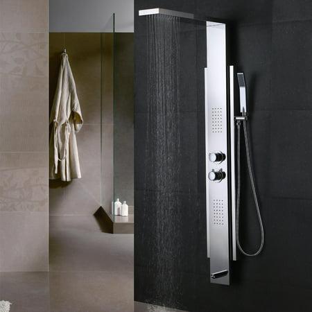 KES SUS 304 Stainless Steel Thermostatic Shower Panel 5-Function Waterfall Rainfall Shower Head Handheld Showerhead Massage Sprays Tub Spout Bathroom Wall Rain Shower System, Polished Finish,