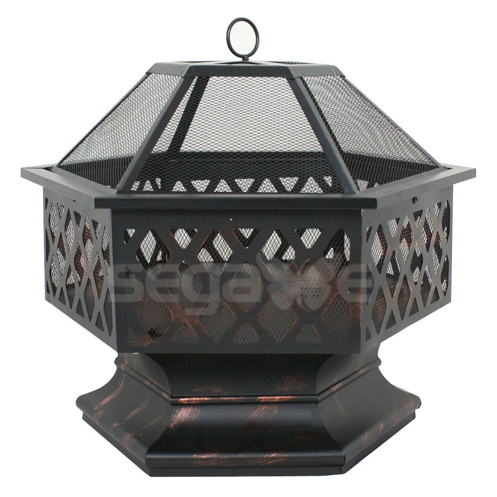 Gizmo Supply Outdoor Hex Shaped Patio Firepit Home Garden Backyard Firepit Bowl Fireplace by
