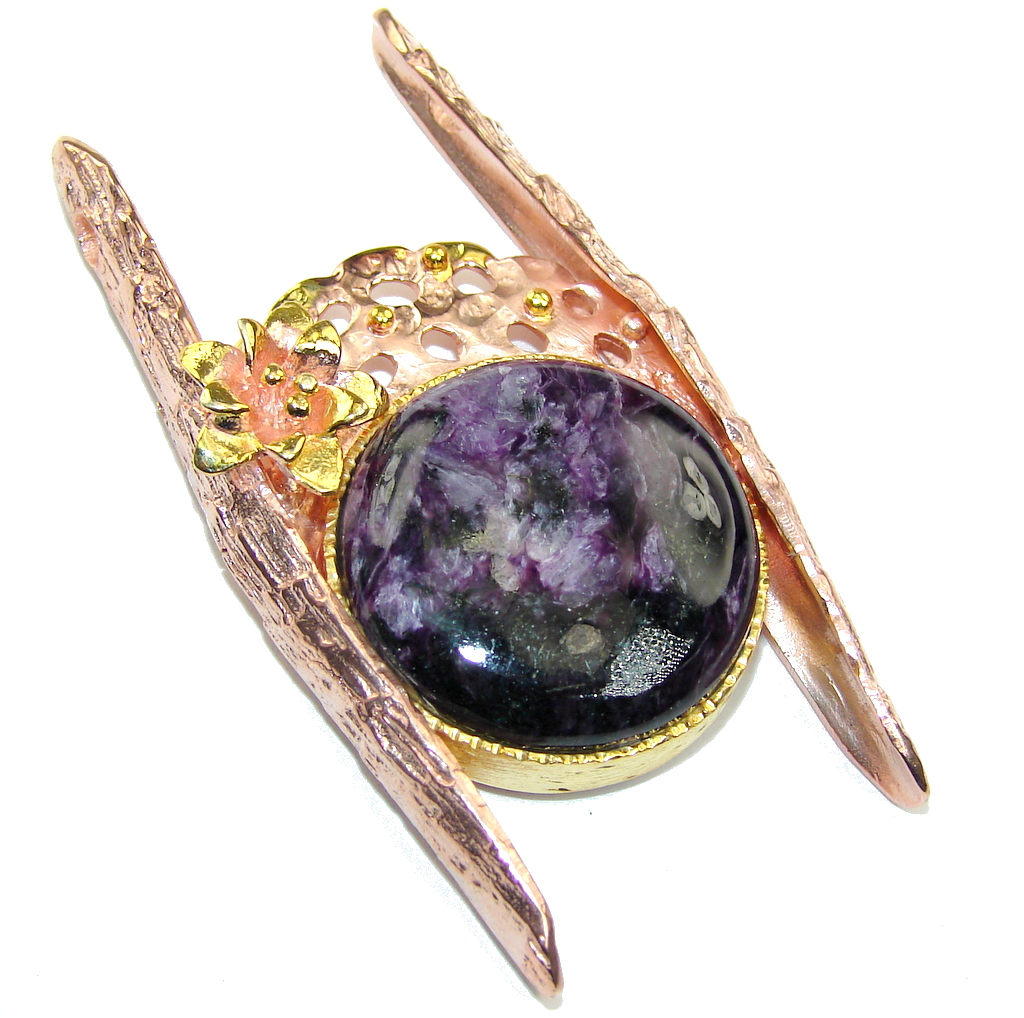 Gorgeous AAA Purple Siberian Charoite,Rose & Gold Plated Sterling Silver Pendant by SilverRush Style