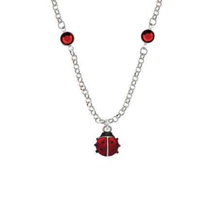 Mini Red Translucent Ladybug Red Crystal Fiona Necklace