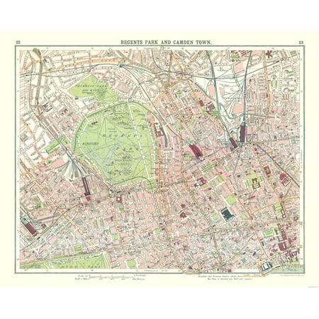 International Map Regents Park Camden Town Bartholomew 1921