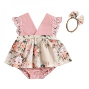 Promotion Clearance!Newborn Infant Romper Baby Girls Flying Sleeves Tutu Skirt Romper + Headband 2pcs Set Toddler Kids Jumpsuit Clothing