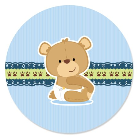 Boy Baby Teddy Bear - Party Circle Sticker Labels - 24 Count