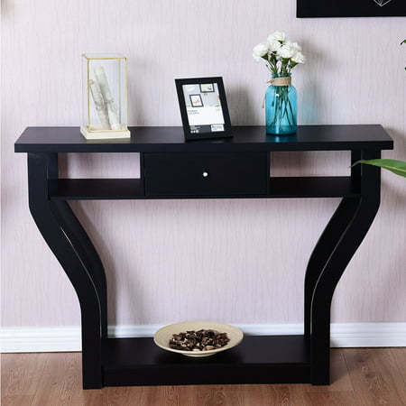 Costway Black Accent Console Table Modern Sofa Entryway Hallway Hall Furniture W/Drawer ()
