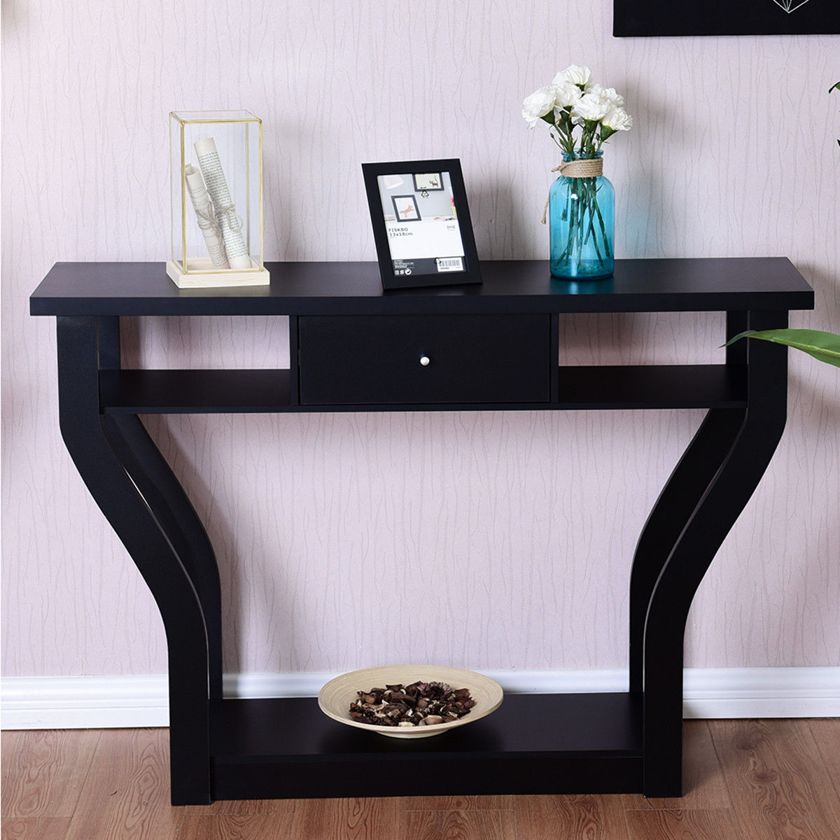 Costway Black Accent Console Table Modern Sofa Entryway Hallway Hall  Furniture W/Drawer