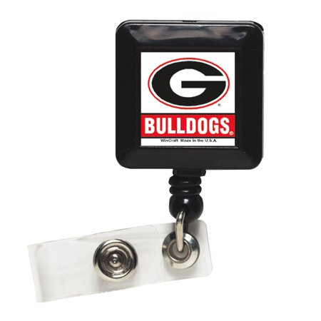 Georgia Bulldogs Official NCAA 1 inch x 1 inch Retractable Badge Holder Key Chain Keychain by Wincraft