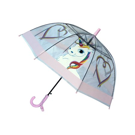 Foxfire Girls Lilac Multi Clear Dome Rainbow Unicorn Heart Print Umbrella (Umbrella Girl Hummel)