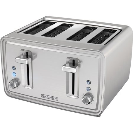 Black & Decker 4-Slice Toaster - 1500 W - Toast, Bagel, Frozen - Brushed Stainless Steel