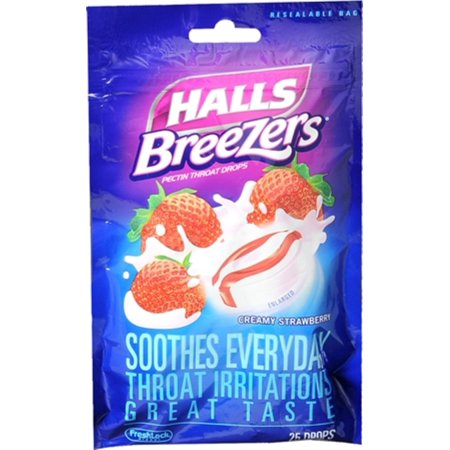 Halls Breezers Drops Cool Creamy Strawberry 25 Each  Pack Of 6