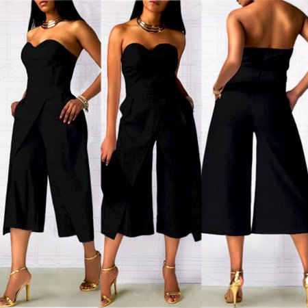 Women Ladies Clubwear Strapless Playsuit Bodycon Party Jumpsuit Romper Trousers Black S