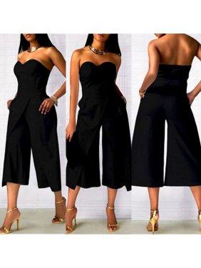 Women Ladies Clubwear Strapless Playsuit Bodycon Party Jumpsuit Romper Trousers Black S